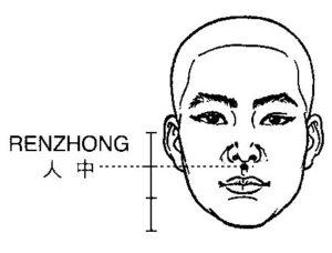 RenZhong akupresszúrás pont. Ajánlaott alkalmazni depresszió, pánikbetegség, szorongás esetén.